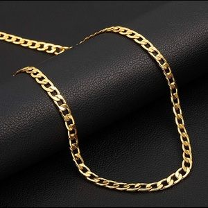 18K Gold Plated 5mm Wide Cuban Chain Link Necklace